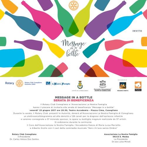 """Traguardo di solidarietà per """"Message in a Bottle"""" con il Rotary Club Conegliano"""