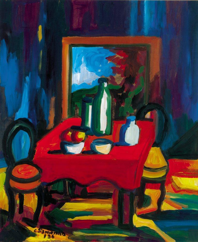 4. Carlo Sismonda, (Racconigi/Cuneo, 1929 – 2011) Interno magico, 1996 olio su tavola Costigliole Saluzzo, Centro Miche Berra per l'arte del '900