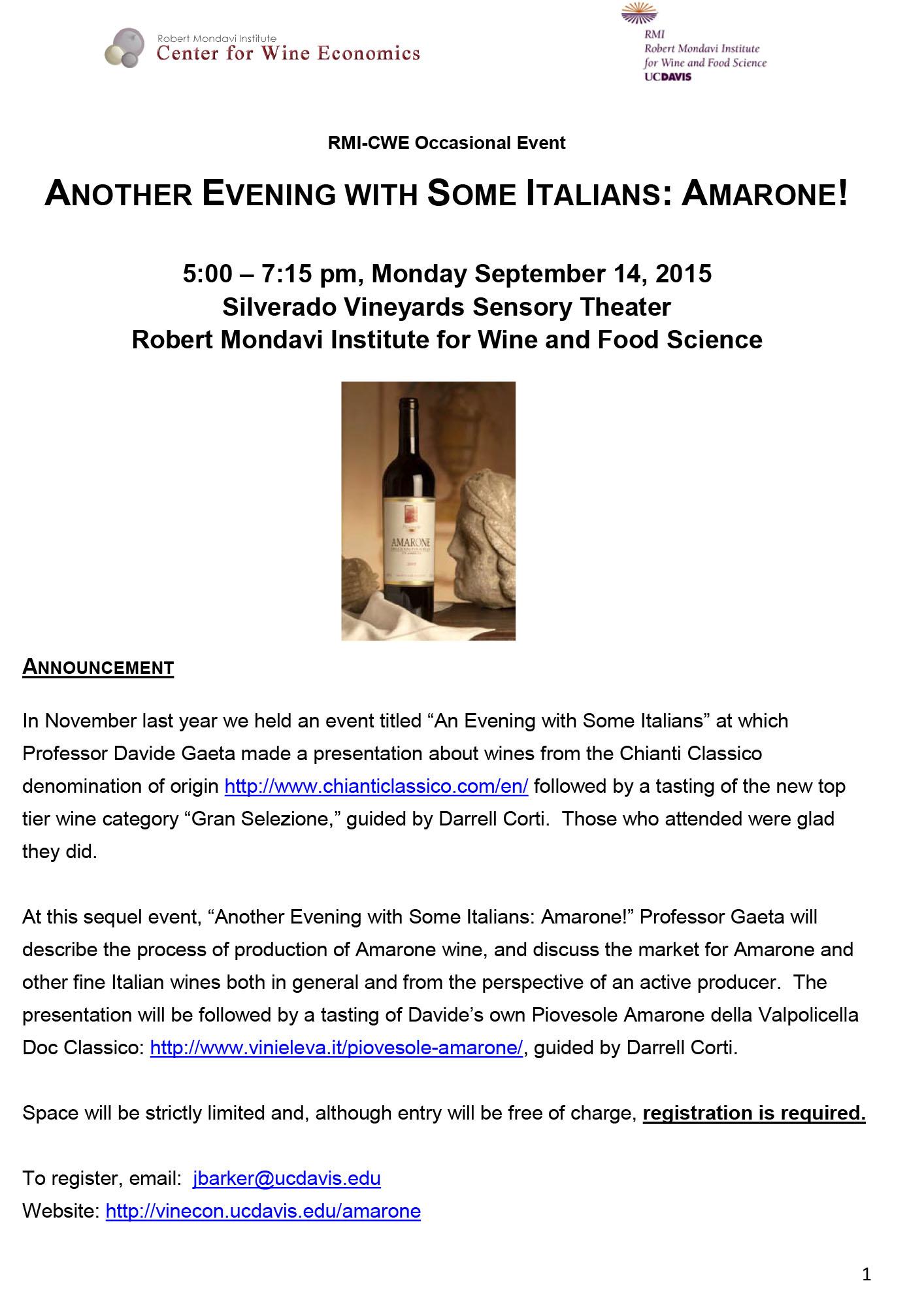 L'Amarone Piovesole sale in cattedra al Mondavi Center in California