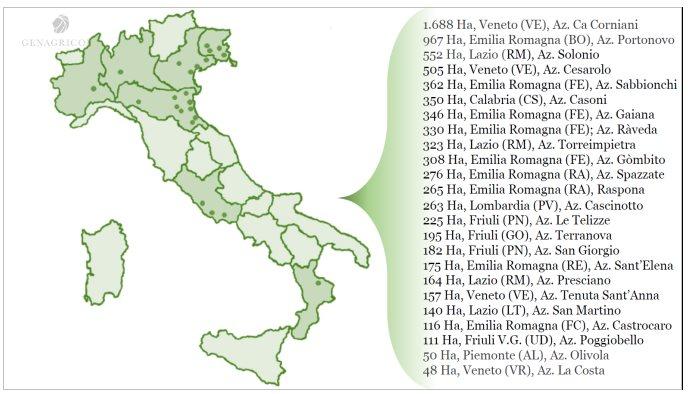Localizzazione delle varie aziende agricole Genagricola