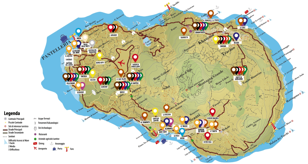 Mappa delle attivita Pantelleria Doc Festival 2018